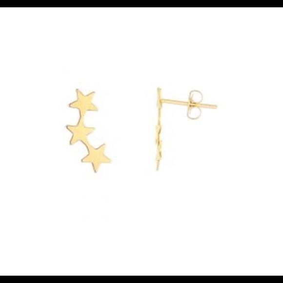 18K Yellow Gold Shiny Star Stud Earrings